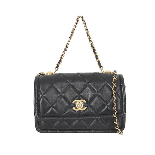 CHANEL Button-On-Top Flap Bag