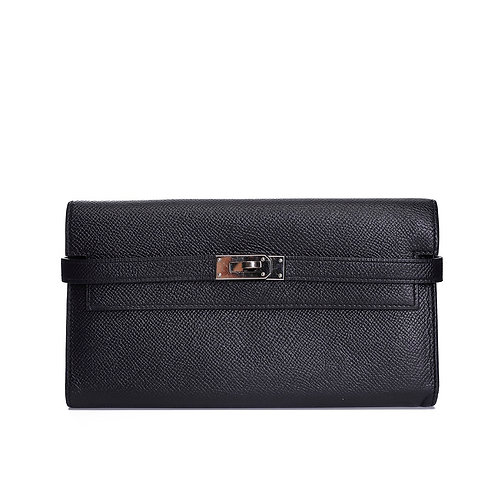 HERMÈS Black Epsom Leather Palladium Plated Kelly Wallet