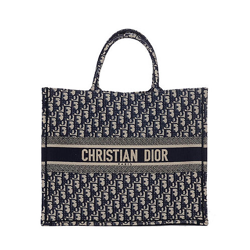 CHRISTIAN DIOR Blue Oblique Book Tote