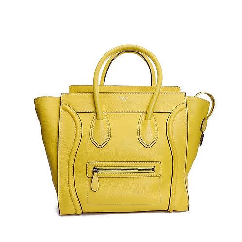 CELINE Pebbled Leather Mini Luggage Tote Bag