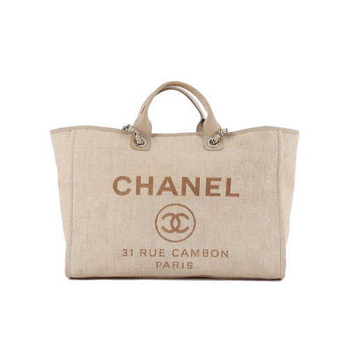 CHANEL Large Deauville Tote Light Beige