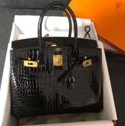 Hermès Black Shiny Niloticus Crocodile Birkin 25cm Gold Hardware.JPG