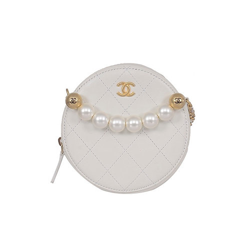 CHANEL Pearl Round Clutch With Chain