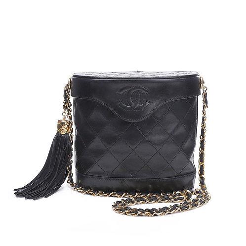 CHANEL Vintage Black Lambskin Oval Tassel Shoulder Bag