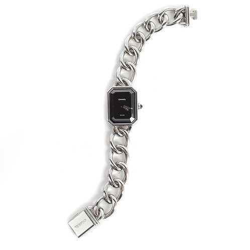 CHANEL Vintage Stainless Steel Chain Black Dial Premiere Ladies Quartz Watch