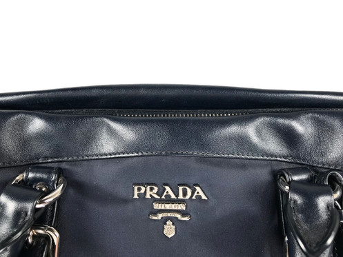 3281dc944af0 Authentic Preloved Prada Tessuto nylon   Soft Calf Bauletto Bag Bleu  (BN2032) with silver-tone hardware