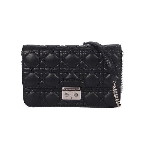 CHRISTIAN DIOR Miss Dior Clutch Bag Black Leather