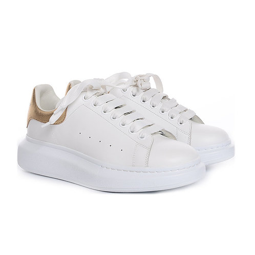 Alexander McQueen White and Gold Sneaker Size 40