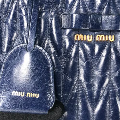 MIU MIU Vitello Shine Trapu Bluette Leather Top Handle Bag 42c77fcd70