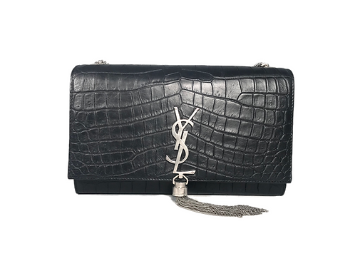 SAINT LAURENT Kate Medium Tassel Embossed Croc Leather Bag
