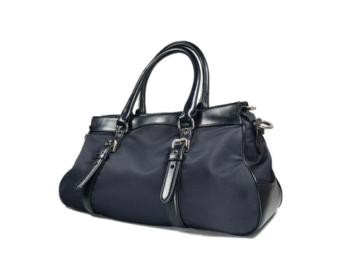 db7488695cd4 Authentic Preloved Prada Tessuto nylon & Soft Calf Bauletto Bag Bleu  (BN2032) with silver-tone hardware, which refines durability to this  classic Prada tote ...