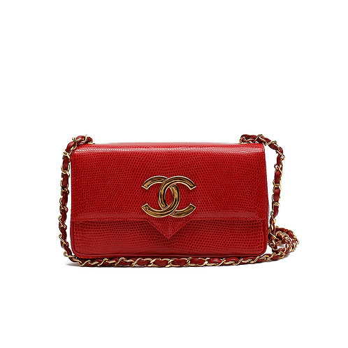 CHANEL Vintage Red Lizard Leather Flap Bag