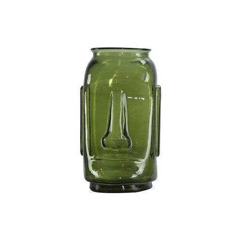אגרטל פרצוף ירוק שקוף