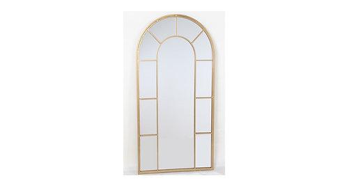 מראה צורת חלון עליון מעוגל מסגרת מתכת זהב