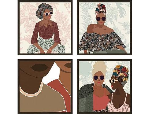 סט תמונות נשים מסגרת שחורה