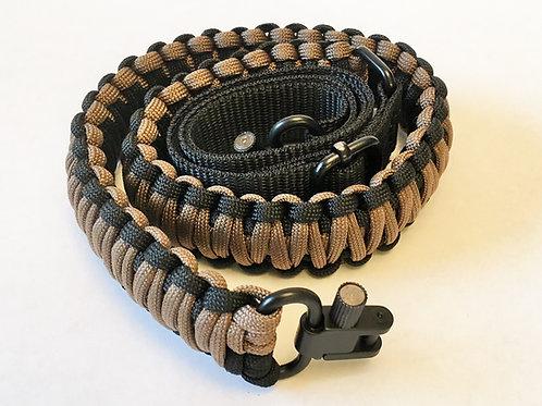 Paracord Gun Sling - Black & Coyote Brown