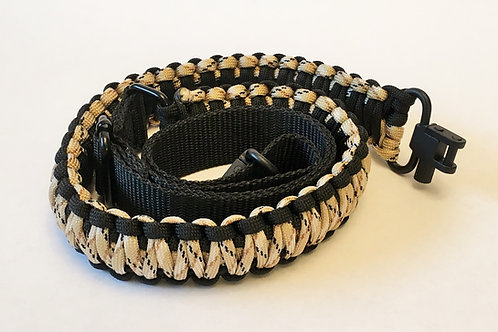 Paracord Gun Sling - Black & Tan Camo