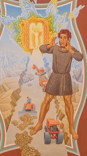 John the Baptist calling out to make straight the way of the lord, in background  is a lightfilled door with a hazy figure, and a road being built in front of it all the way down to John the baptist. The painting has a painted internal frame that is wavy, out of which breaks the road, and other elements of the painting.