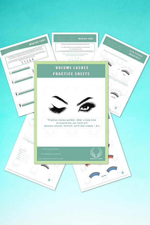Volume lashes practice sheets + free Volume Lashes