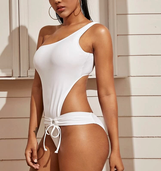 Cut-out One Shoulder One Piece Swimsuit