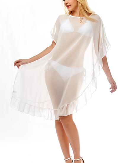 White Ruffled Bikini Cover Up