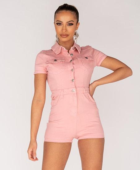 Button Up Front Short Sleeve Denim Playsuit
