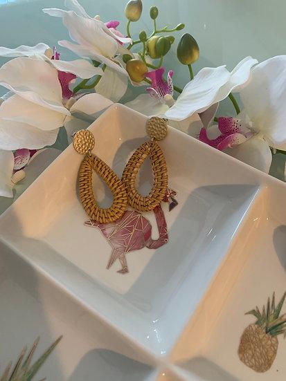 Woven Rattan Earring