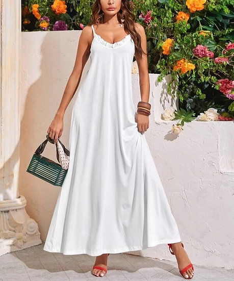 Frill Trim Maxi Cami Dress