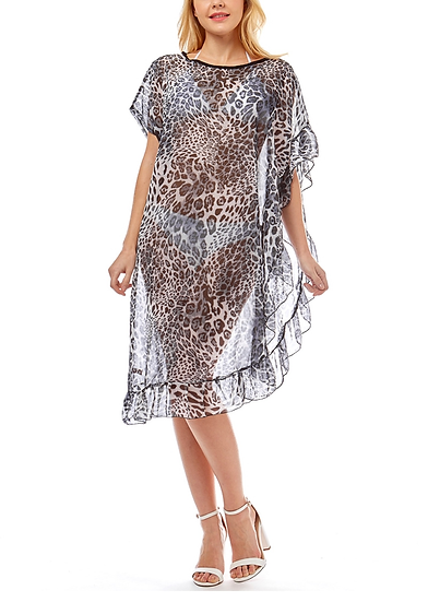 Leopard Patterns Half Ruffled Bikini Cover Up
