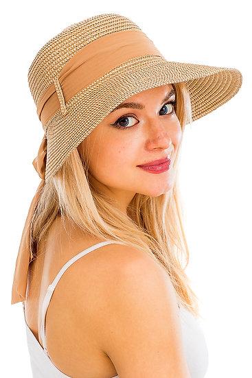 Big Brim Visor with Chiffon Fabric Bow Design Sun Hat