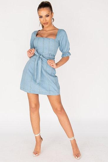 Denim Puffed Sleeve Self Belt Mini Dress