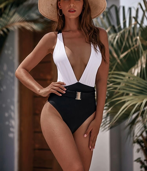 Two Tone Belted One Piece Swimsuit