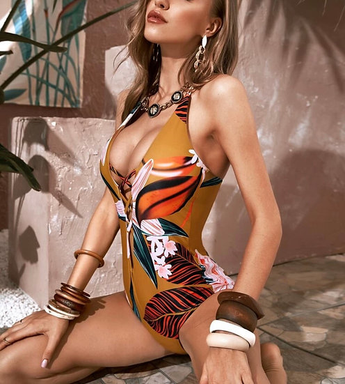 Tropical Criss Cross Halter One Piece Swimsuit