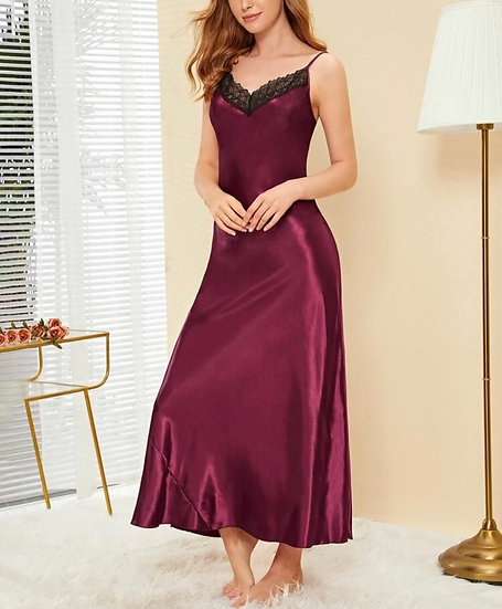 Crochet Trim Longline Satin Cami Dress