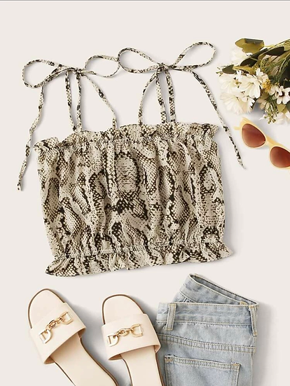 Snakeskin Print Knotted Cami Top