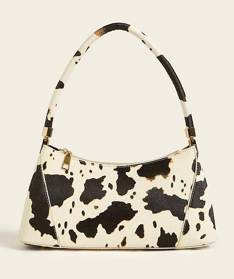 Cow Pattern Zipper Decor Tote Bag