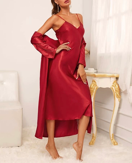 2pcs Solid Satin Night Dress & Contrast Lace Belted Robe