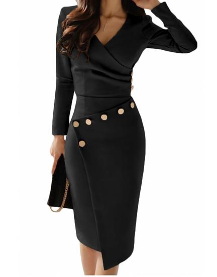 Asymmetric Button Dresses