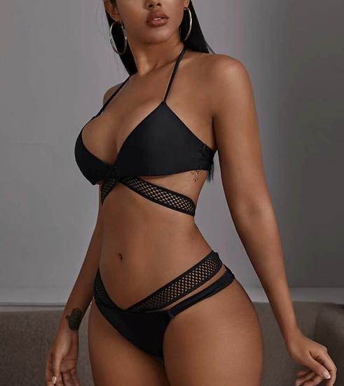 Criss Cross Halter Bikini Swimsuit