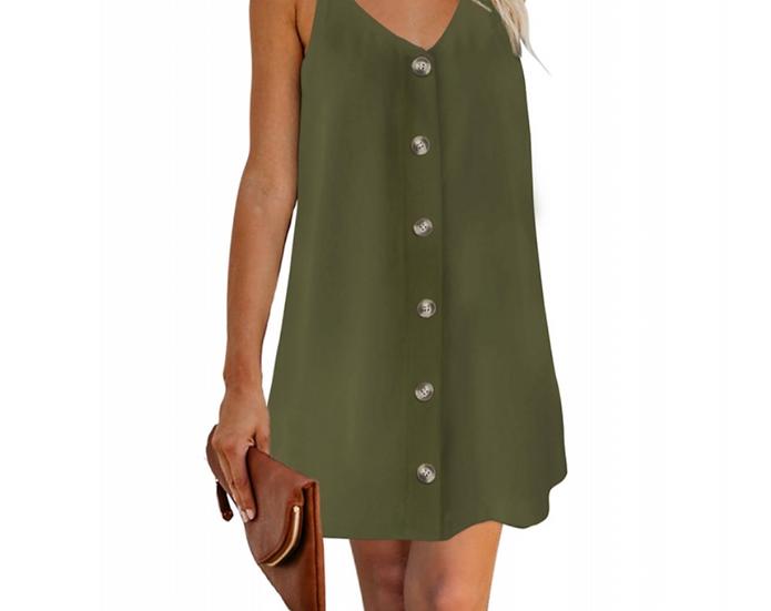 Buttoned Slip Dress