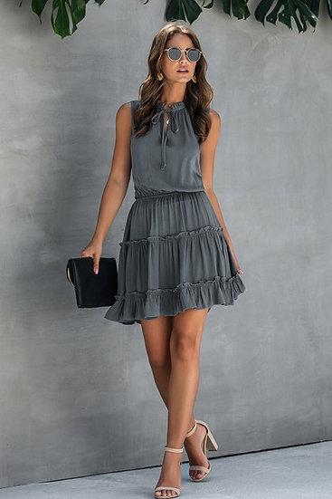 Sleeveless Drawstring Mini Dress