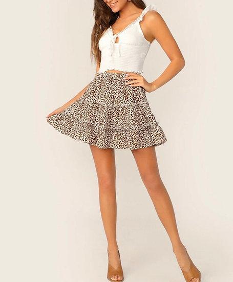 Ruffled Leopard Print Mini Skater Skirt