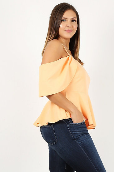 Plus size solid fit and flare top with off shoulder