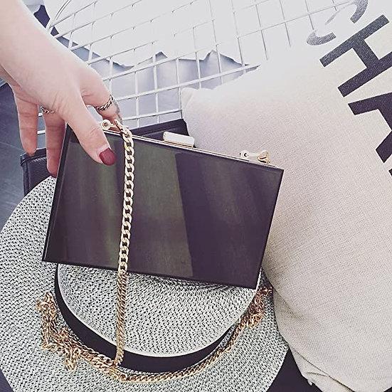 Women Acrylic Clear Box Clutch Crossbody Bag