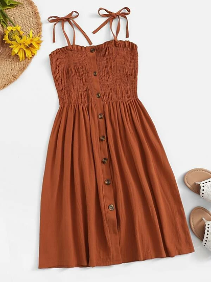 Shirred Self Tie Cami Dress