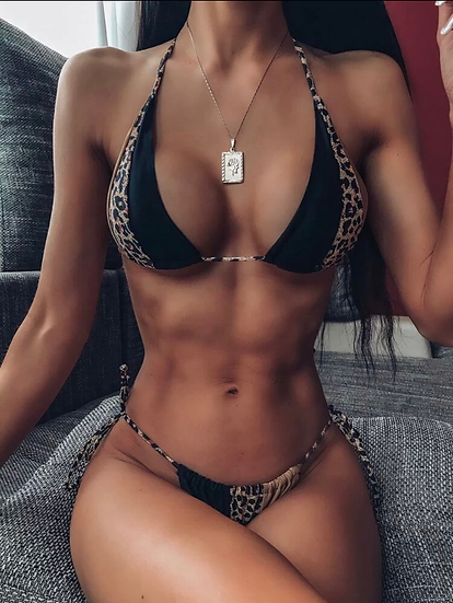 Leopard Halter Triangle Tie Side Bikini Swimsuit
