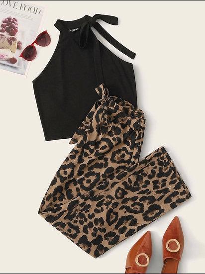 Knot Halter Top & Belted Leopard Pants Set