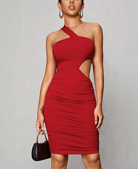 One Shoulder Cut Out Waist Ruched Dress