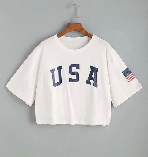 USA Flag Graphic Boxy Tee