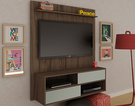 "Mueble para TV tipo Panel Dallas Bertolini Pant. Hasta 42"" Almendra con Blanco"